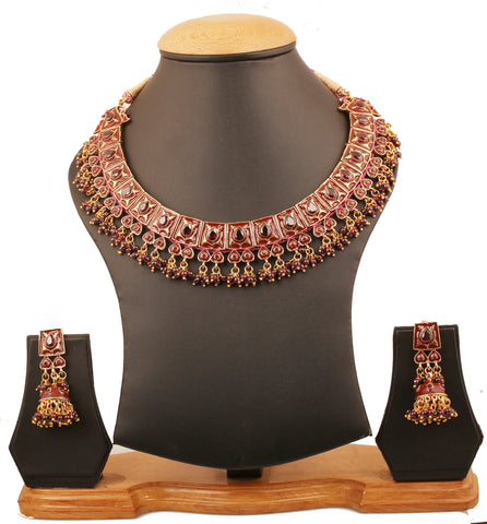 Touchstone Indian Bollywood Crocheted Based Mughal Kundan Polki Meenakari Enamel Magical And Mystical Style Grand Designer Jewelry Necklace Set Beautifully Hung With Faux Turquoise Beads Women In Silver Tone.-PWNSE001-05G--Y