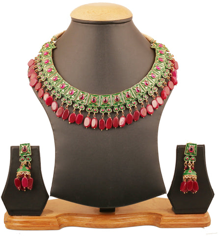 Touchstone Indian Bollywood Mughal Kundan Polki Meenakari Enamel Magical And Mystical Style Grand Designer Jewelry Necklace Set Beautifully Hung With Faux Turquoise Beads Women In Silver Tone.-PWNSE001-06R--Y