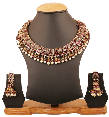 Touchstone Indian Bollywood Crocheted Based Mughal Kundan Polki Meenakari Enamel Magical And Mystical Style Grand Designer Jewelry Necklace Set Beautifully Hung With Faux Turquoise Beads Women In Silver Tone.-PWNSE001-07PG-Y
