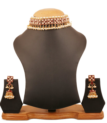 Touchstone Indian Bollywood Mughal era Meenakari Enamel And faux Pearls Grand Designer Jewelry Choker Necklace For Women In Gold Tone.-PWNSE002-01P--Y
