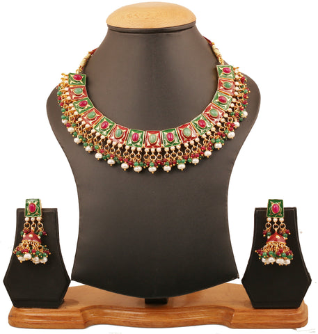 Touchstone Indian Bollywood Mughal Meenakari Enamel Embellished With Fresh Water Pearls Faux Ruby And Emerald Designer Jewelry Choker Necklace For Women In Gold Tone.-PWNSE003-01PREY
