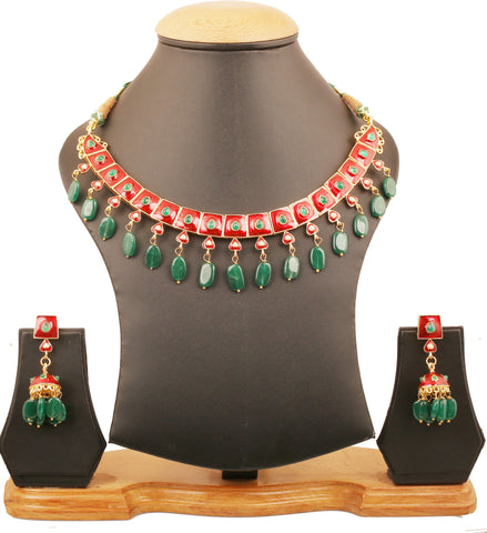 Touchstone Indian Bollywood Mughal Jaipur Meenakari Enamel Faux Emerald And Green Onyx Beads Designer Jewelry Necklace Set For Women In Gold Tone.-PWNSE005-01PE-Y