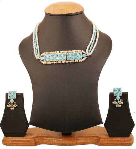 Touchstone Indian Bollywood Mughal Era Inspired Exotic Jaipur Meenakari Enamel Fresh Water Pearls And faux Turquoise Designer Jewelry Choker Set For Women In Gold Tone. -PWNSE007-01PT-Y