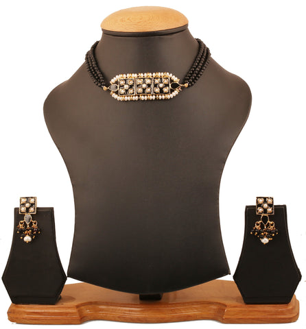 Touchstone Indian Bollywood Mughal era inspired exotic Jaipur Meenakari enamel fresh water pearls and black beads choker set for women in gold tone.-PWNSE008-01P--Y