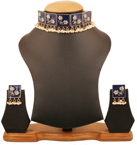Touchstone Indian Bollywood Fantastically Created Traditional Meenakari Enamel Fresh Water Pearls Designer Jewelry Choker Set For Women in Gold Tone.-PWNSE009-01P--Y