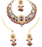 Padmavati Fame Kundan Look Faux Ruby Mina Floral Necklace In Gold Tone-PWNSE015-01KR-Y