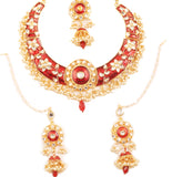 Padmavati Fame Kundan Look Faux Ruby Mina Floral Necklace In Gold Tone-PWNSE015-02K--Y