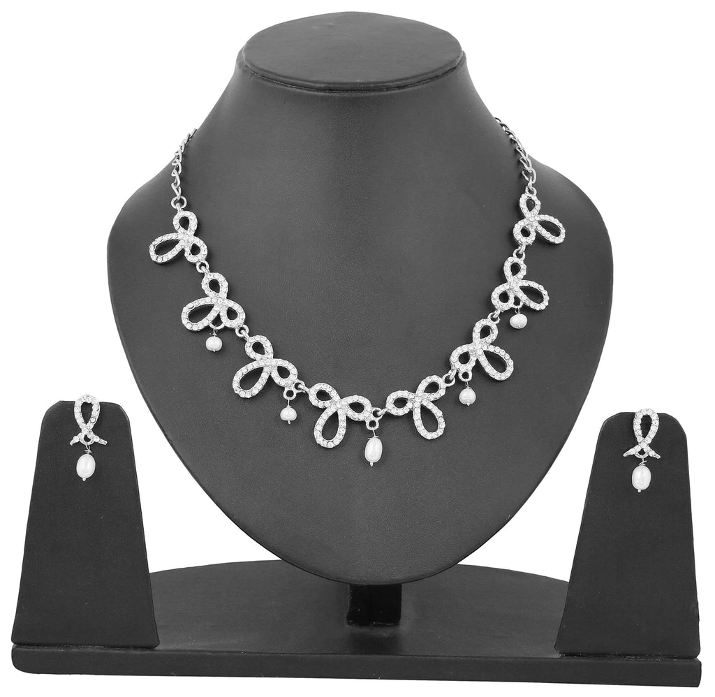 Touchstone Ad Silver Twists Necklace Set- PWNSL046-01A--W