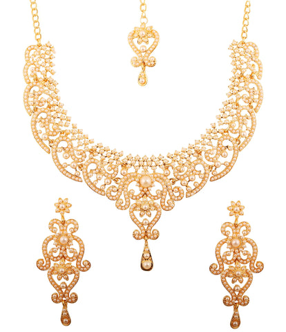 Fine Filigree Work White Faux Pearls Necklace Set In Antique Gold Tone-PWNSL070-04P--Y