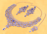 Fine Filigree Faux Blue Sapphire Exclusive Necklace Set In Silver Tone-PWNSL070-05W--W