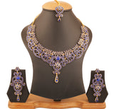 Fine Filigree Work Faux Blue Sapphire Exclusive Necklace In Silver Tone-PWNSL070-06W--Y