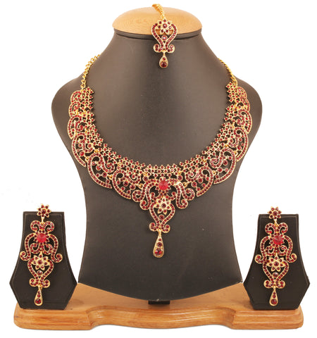 Fine Filigree Work Red Faux Ruby Exclusive Necklace Set In Silver Tone-PWNSL070-07R--Y