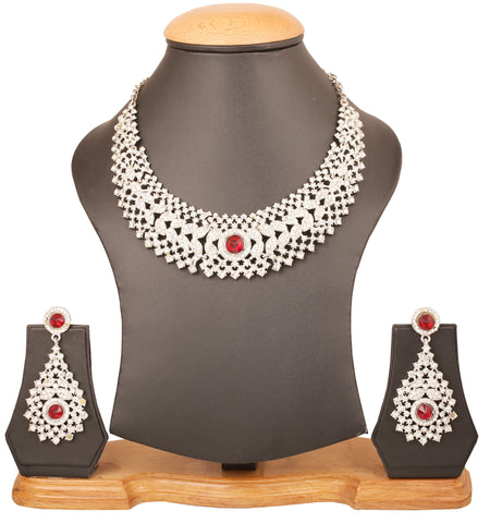 Touchstone Indian bollywood sparkling white Austrian crystals and red faux ruby bridal jewelry necklace set in  white tone for women PWNSL079-09AR-W