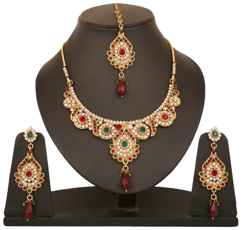 Touchstone Pewter Antique Gold Plated Very Rich And Ethnic Indian Necklace Set- PWNSL101-01AREG