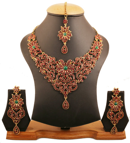 Traditional Royal Fine Filigree Red Green Necklace In Antique Gold Tone-PWNSL114-03RE-G