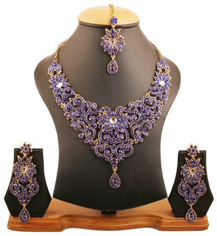 Traditional Fine Filigree Blue Stones Necklace Set In Antique Gold Tone-PWNSL114-04WK-G