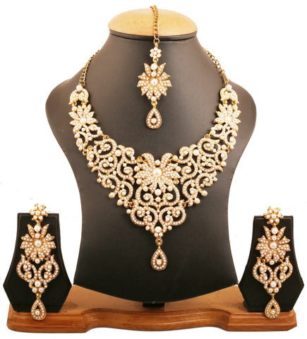 Traditional Look Fine Filigree Faux Pearls Necklace In Antique Gold Tone-PWNSL114-05P--G