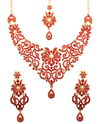 Rajwada Filigree Red Color Faux Pearls Necklace In Antique Gold tone-PWNSL114-06PR-G