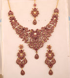 Rajwada Filigree Pink Fuchsia Faux Pearls Necklace In Antique Gold tone-PWNSL114-07PZ-G