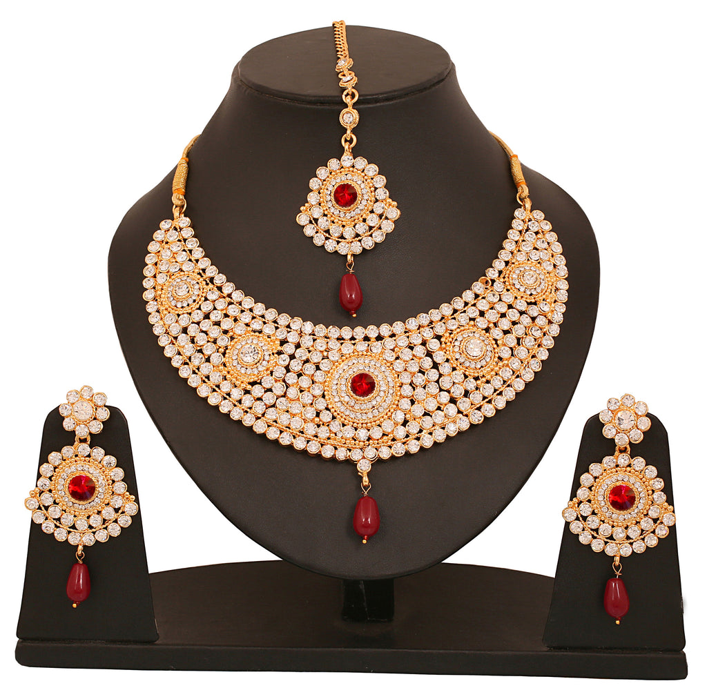 Touchstone Ad Studded Gold Plated Bridal Necklace Set- PWNSL136-03AR-G
