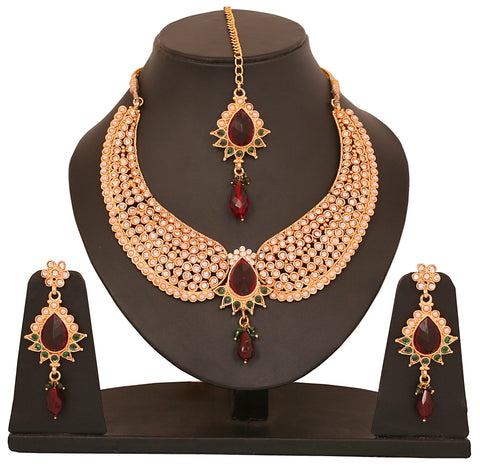 Touchstone Green & Maroon Stone Traditional Necklace Set- PWNSL137-02AREG