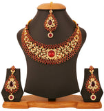 Touchstone Gold Plated Very Rich Hasli Style Bridal Necklace Set- PWNSL138-03AR-Y