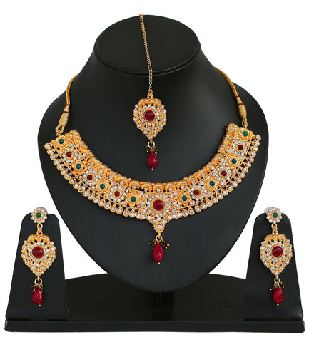 Touchstone Opulent Golden Necklace Set With Maang Tika- PWNSL141-01AREY