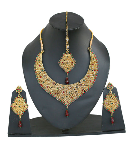 Touchstone Gorgeous Necklace Set With Maang Tika- PWNSL157-02RE-Y