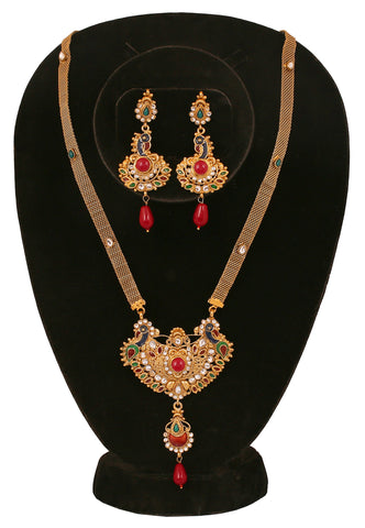Touchstone Glass Stone Studded Peacock Necklace Set- PWNSL173-01AREY