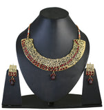 Touchstone Golden & Red Austrian Diamonds Necklace Set- PWNSL260-01R--G