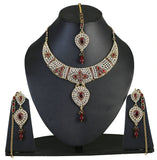 Touchstone Traditional Golden & Red Austrian Diamonds Necklace Set With Maang Tika- PWNSL262-01KR-Y