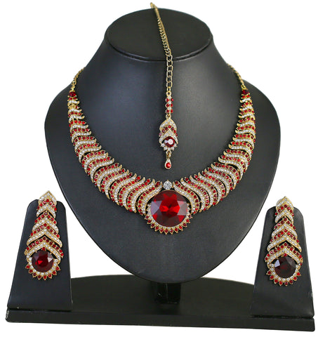 Touchstone Golden & Red Austrian Diamonds Necklace Set With Maang Tika- PWNSL265-01AR-Y