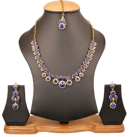 Touchstone Indian bollywood floral and petals theme princess look white and blue Austrian crystals light wear jewelry  necklace set in antique gold tone for women PWNSL273-03AW-G