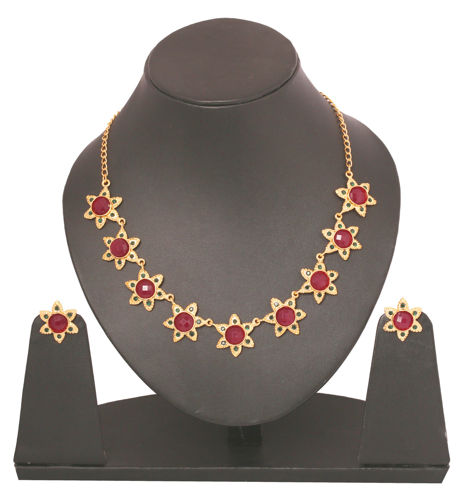 Touchstone Gold Plated Floral Necklace Set- PWNSL282-01RE-Y