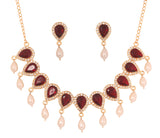 Touchstone Gold Plated Rich & Royal Necklace Set- PWNSL283-01AR-Y