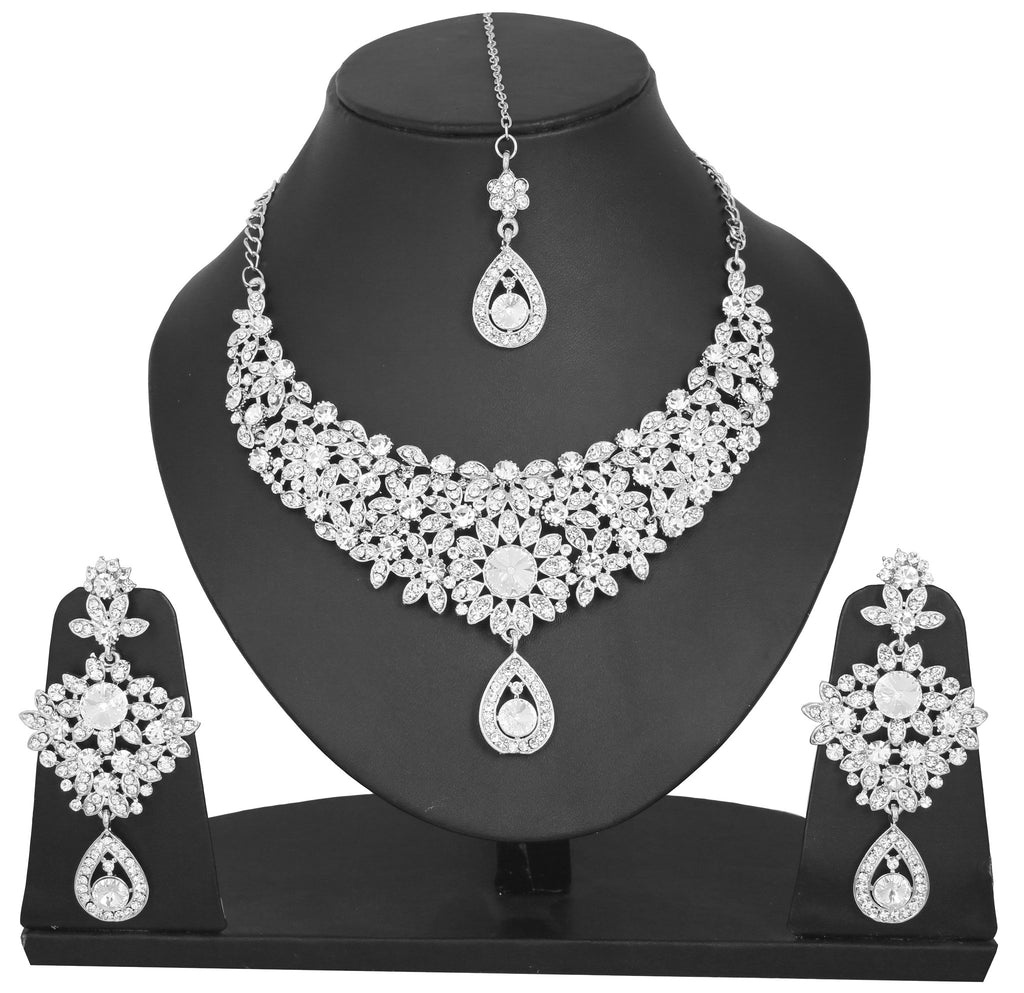 Touchstone Rhodium Plated Exclusive Necklace Set- PWNSL300-01A--W