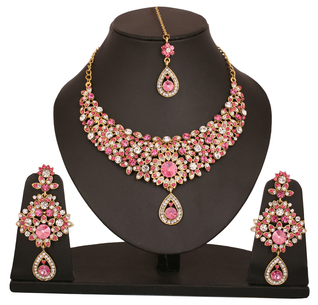 Touchstone Antique Gold Plated Filigiree Style Necklace Set- PWNSL300-02AZ-G