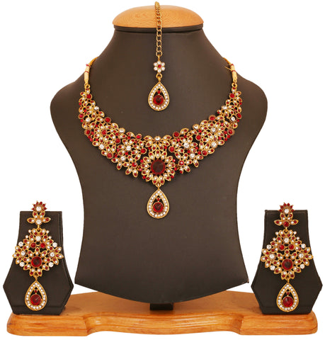 Touchstone antique golden plated Indian bollywood maroon white bridal jewelry necklace set for women