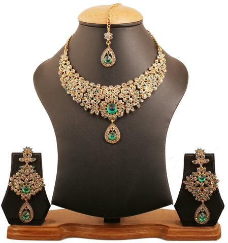 Fine Filigree White Green Blue Hasli Necklace In Antique Gold Tone-PWNSL300-04AEWG