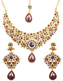 Fine Filigree White Red Green Blue Hasli Necklace In Antique Gold Tone-PWNSL300-05X--G