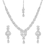 Touchstone Rhodium Plated Princely Necklace Set- PWNSL301-01A--W
