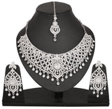 Touchstone Rhodium Plated Pretty Bridal Purpose Necklace Set- PWNSL303-01A--W