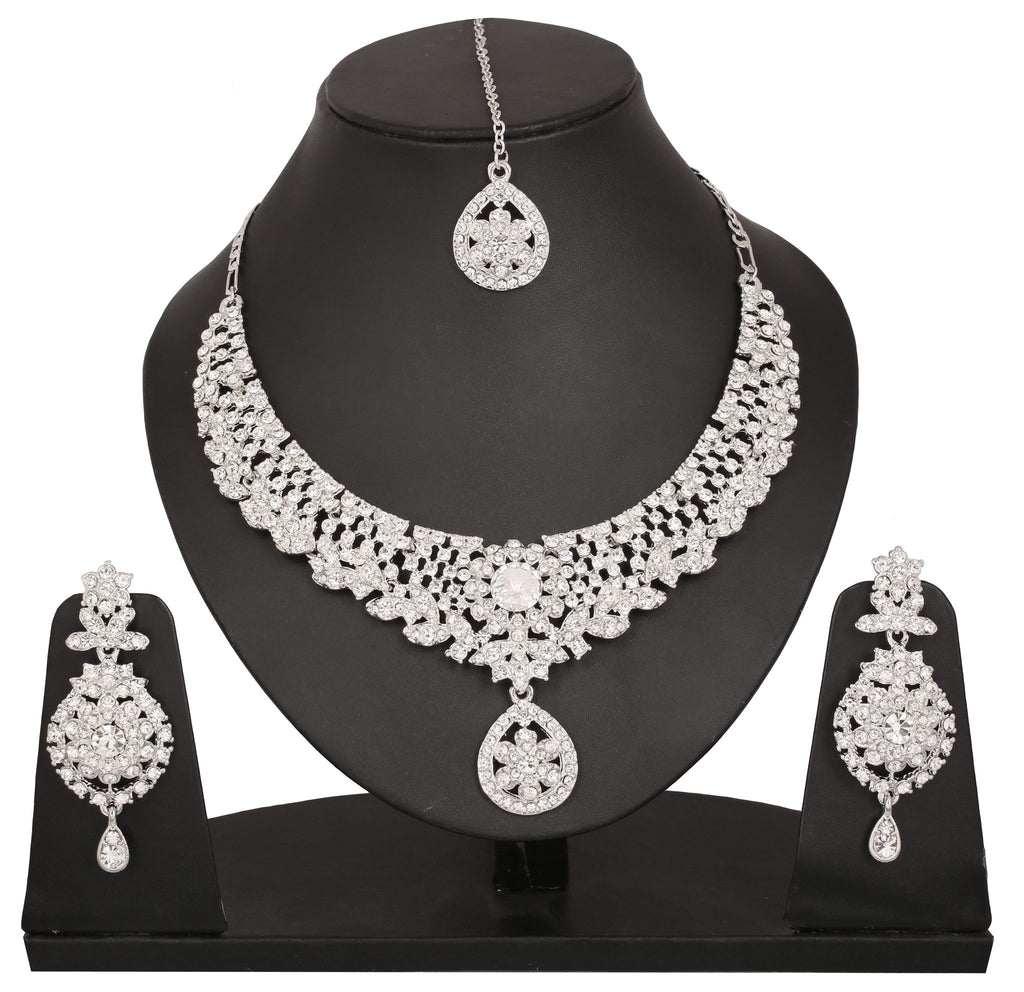 Touchstone Rhodium Plated Contemporary Necklace Set- PWNSL306-01A--W