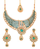 Touchstone Antique Gold Plated Indian Traditional Necklace Set- PWNSL309-01AKWY