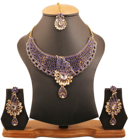 Exclusive Tinsel Town Kundan Look Blue Necklace Set Antique Gold Tone-PWNSL309-02KW-Y