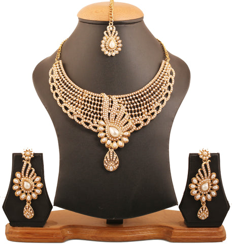 Exclusive Tinsel Town Kundan Polki Look Necklace Set Antique Gold Tone-PWNSL309-03P--Y