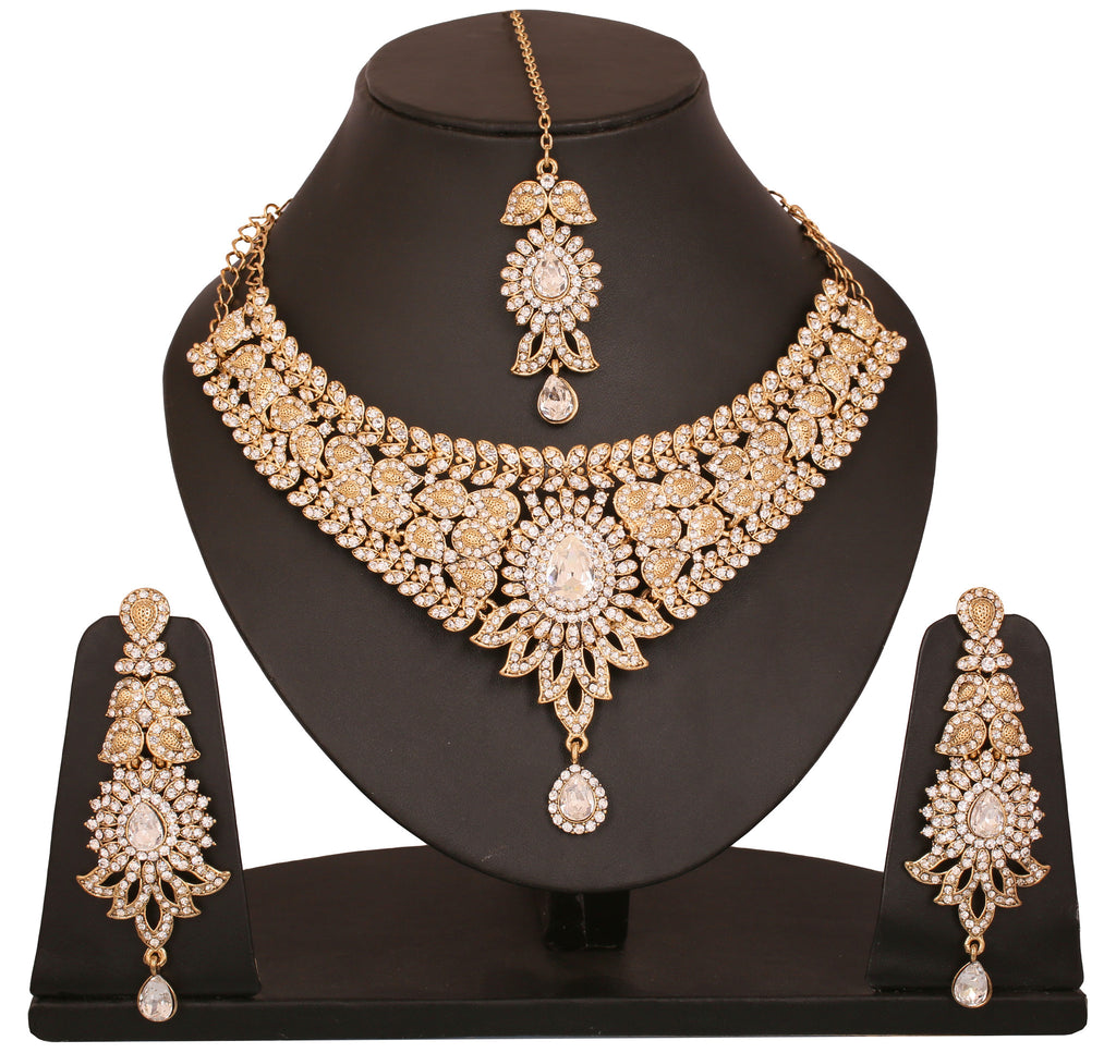 Touchstone Rhodium Plated Attractive Bridal Necklace Set- PWNSL313-01A--G