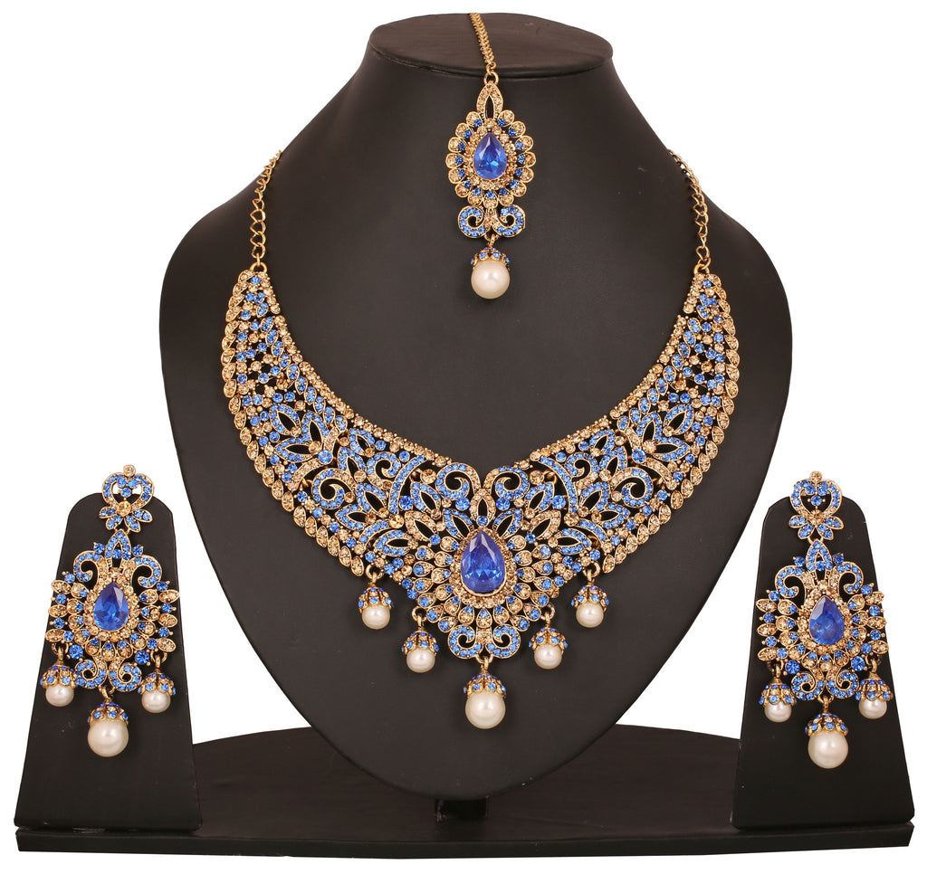 Touchstone Antique Gold Plated Rajeada Necklace Set- PWNSL314-01FW-G