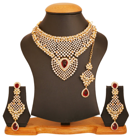 Touchstone golden plated Indian bollywood white diamante faux rubies bridal jewelry necklace for women