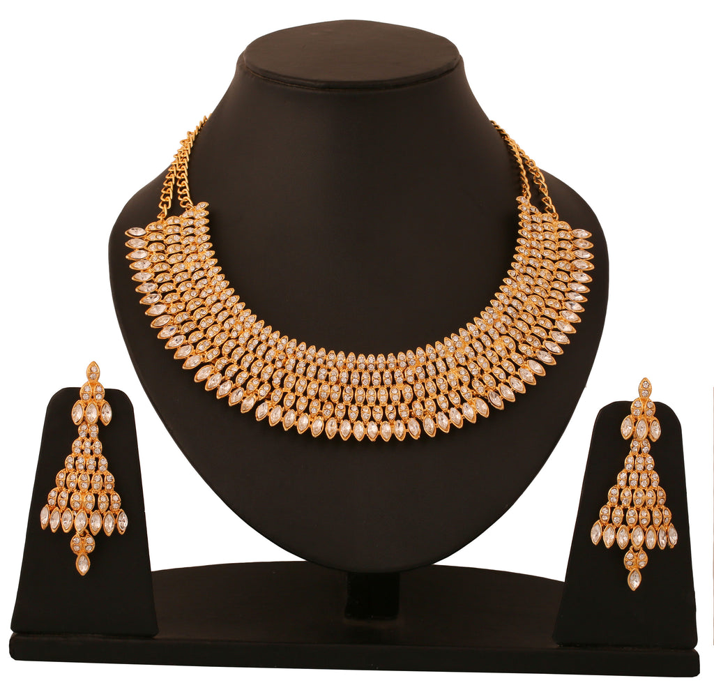 Touchstone Gold Plated Indo-Western Austrian Diamond Necklace Set- PWNSL331-02A--Y